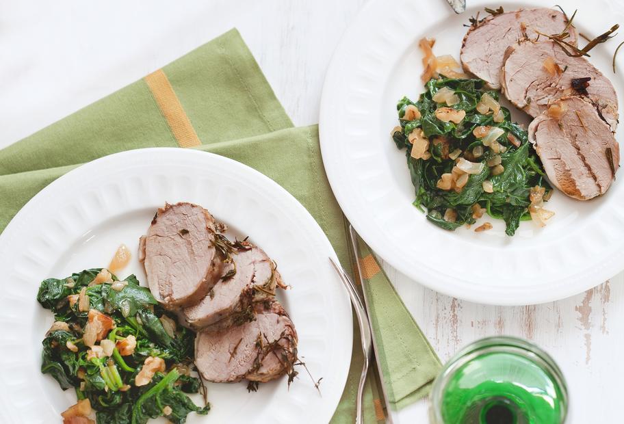 Kräuter-Schweinefilet mit Spinat