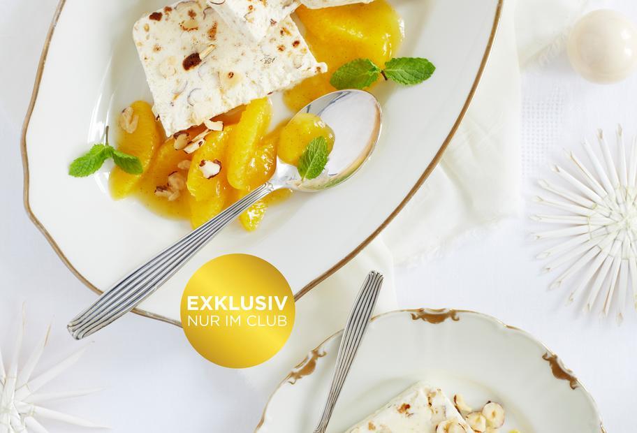 Lebkuchenparfait mit Orangenkompott
