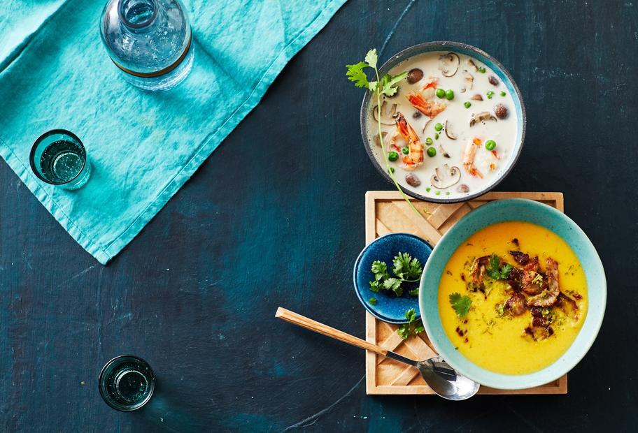 Feine Kokossuppe mit Garnelen