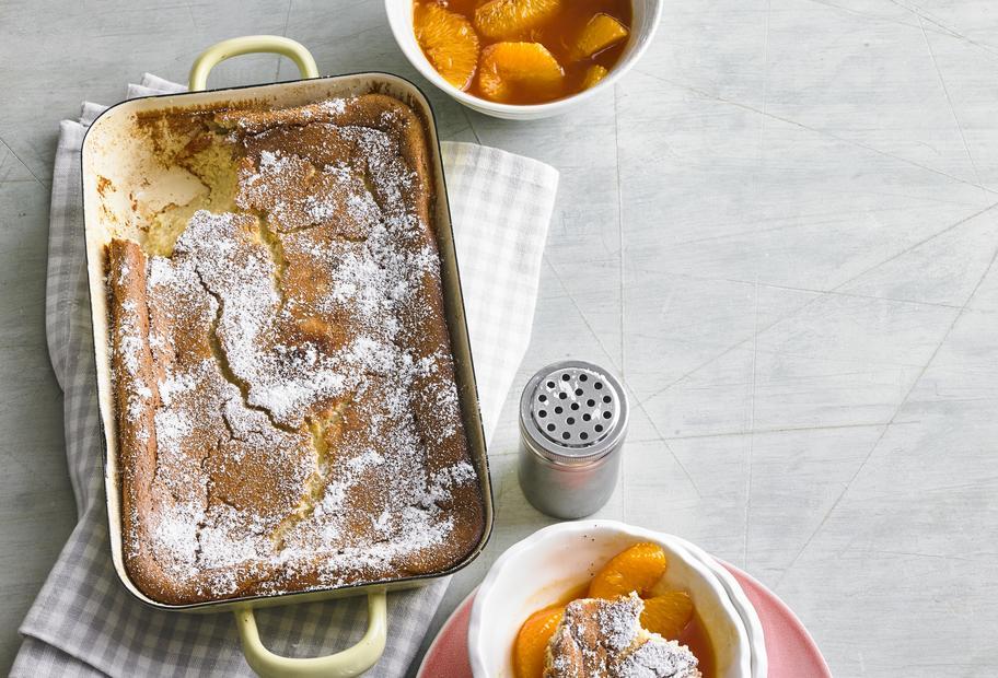 Mandel-Grieß-Auflauf mit Orangensoße