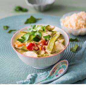 Hähnchen-Kokos-Curry mit Reis
