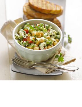 Kichererbsen-Tomate-Mozzarella-Salat